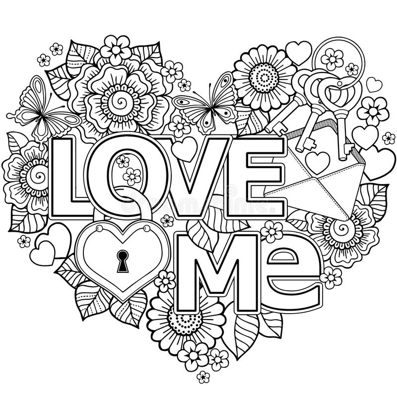 Je t'aime fond abstrait en forme de coeur fait de fleurs, tasses, papillons, et oiseaux illustration stock