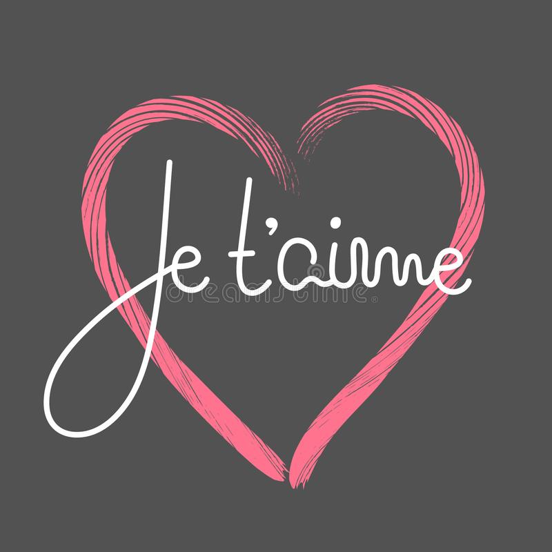 Je t ` aime Francuski literowanie Ręcznie pisany romantyczna wycena szczęśliwy dzień valentine s Wakacje w Luty kaligrafia ilustracja wektor