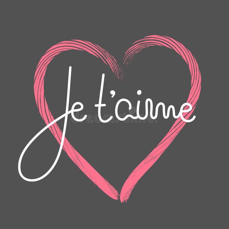 Je t `-aime Fransk bokstäver Handskrivet romantiskt citationstecken lycklig s valentin för dag Ferie i Februari calligraphy vektor illustrationer