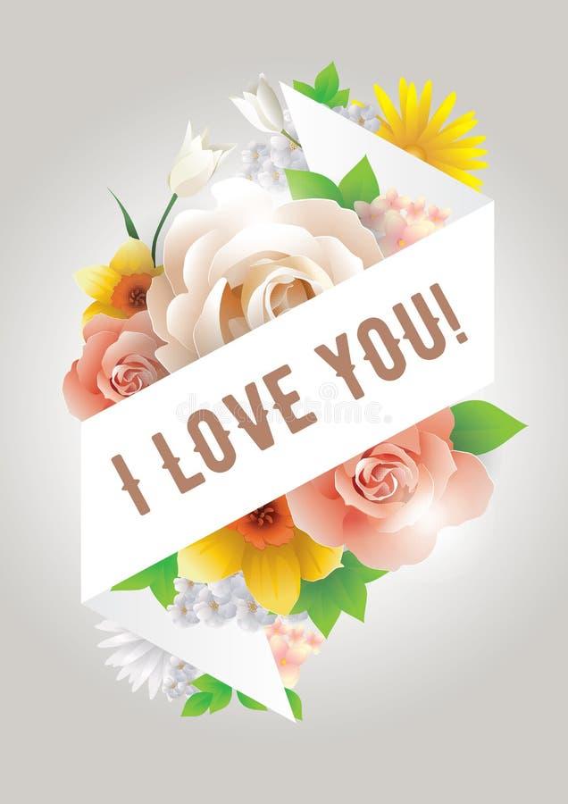 Je t'aime inscription Carte de voeux, invitation ou affiche de vecteur Concevez avec des fleurs, des roses, et le texte Utilisabl illustration libre de droits