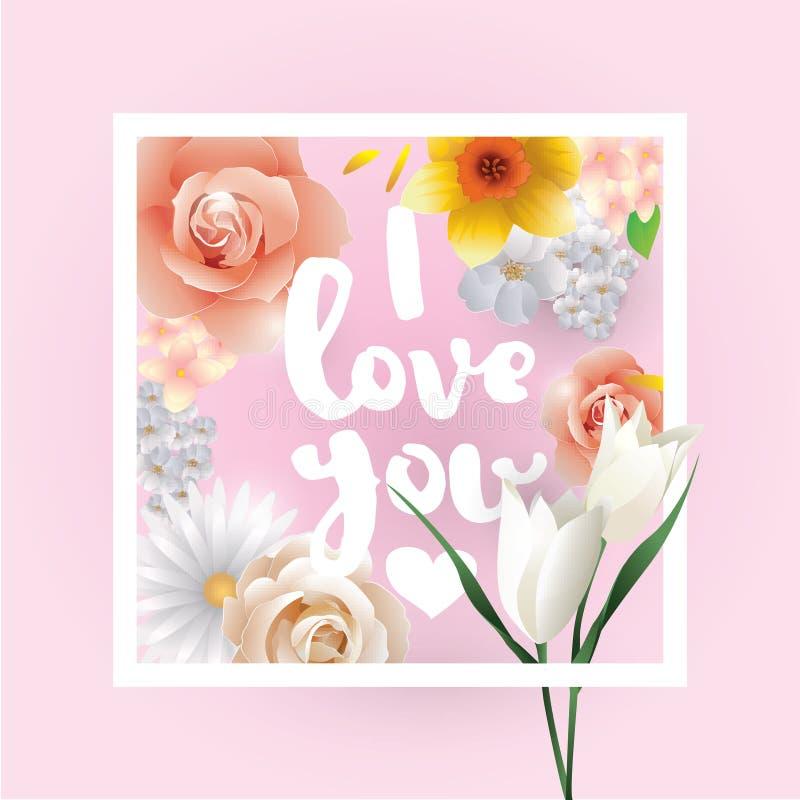 Je t'aime inscription Carte de voeux, invitation ou affiche de vecteur Concevez avec des fleurs, des roses, et le texte Utilisabl illustration stock