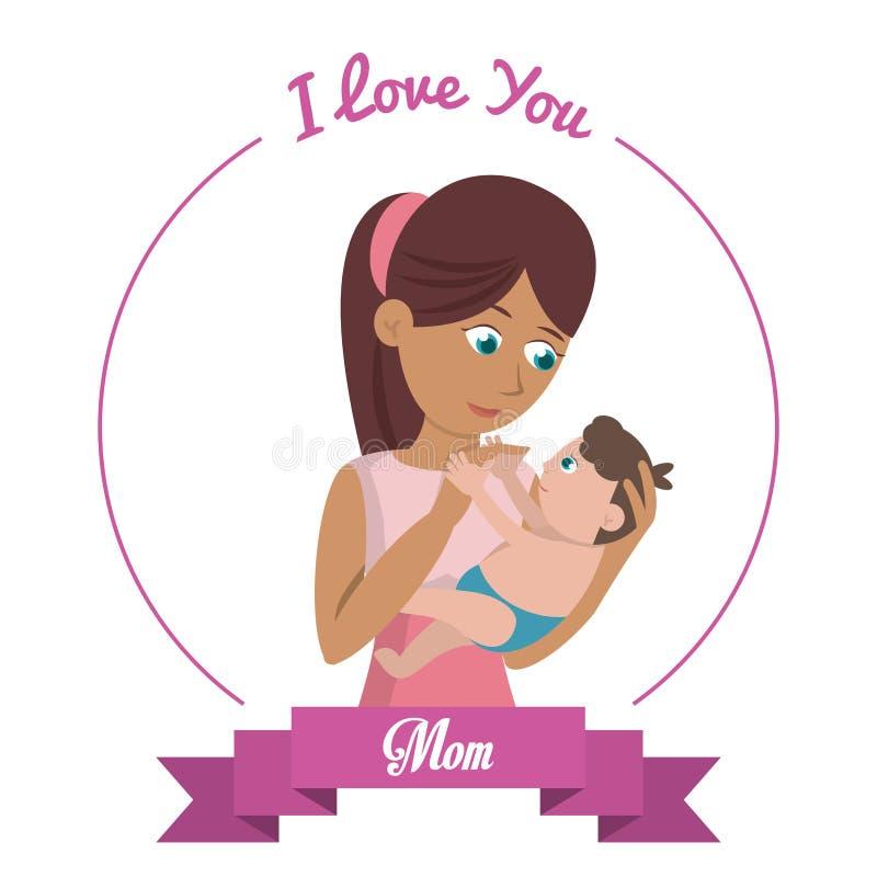 Je t'aime la femme de carte de maman porte le bébé illustration stock