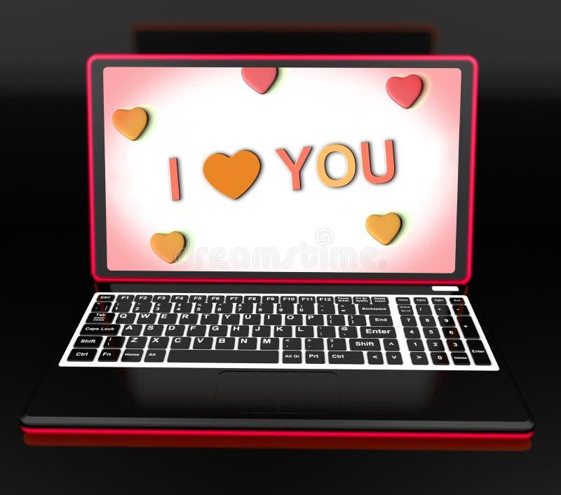 Je t'aime le message principal d'ordinateur portable montre affectueux ou Romance illustration de vecteur