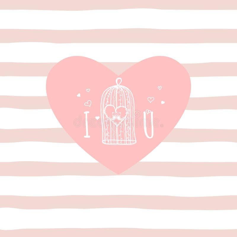Je t'aime lettre tirée par la main sur le fond rose de rayure cellule et oiseaux mignons Carte de voeux de Saint-Valentin, vecteu illustration libre de droits