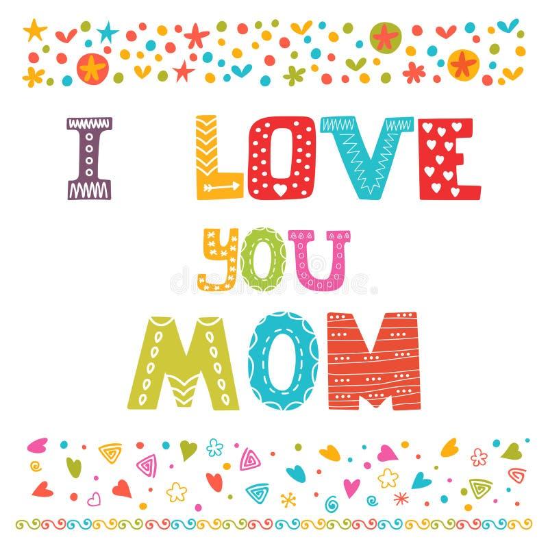 Je t'aime maman Carte de voeux mignonne Concept heureux du jour de mère illustration de vecteur