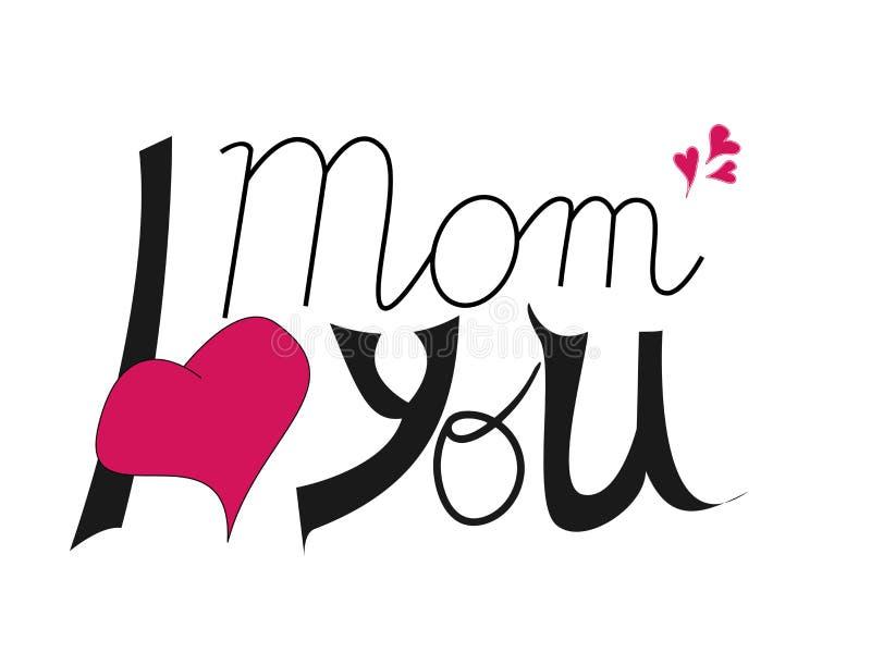 Je t'aime maman Lettrage de jour du ` s de mère Concevez l'élément pour la carte de voeux, invitation, insecte illustration stock