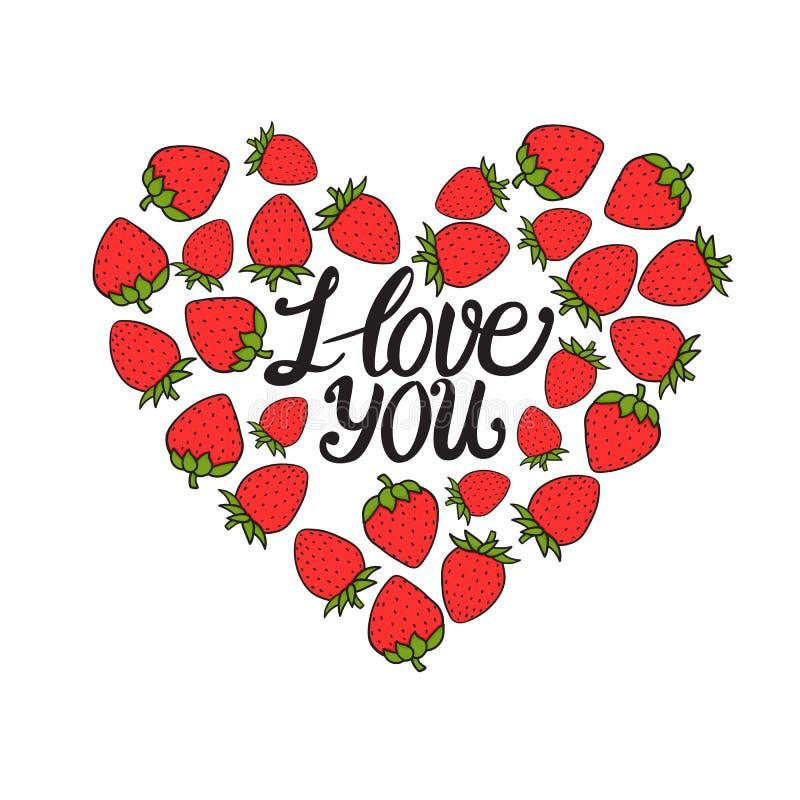 Je t'aime marquant avec des lettres Carte de jour de Valentines Baie rouge douce de fraise Illustration tirée par la main de vect illustration de vecteur