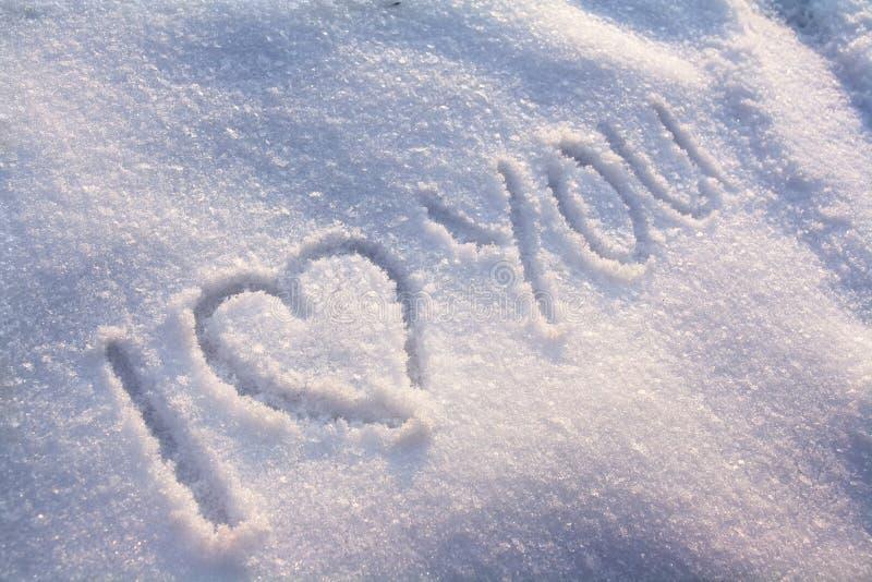 Je t'aime neige photographie stock