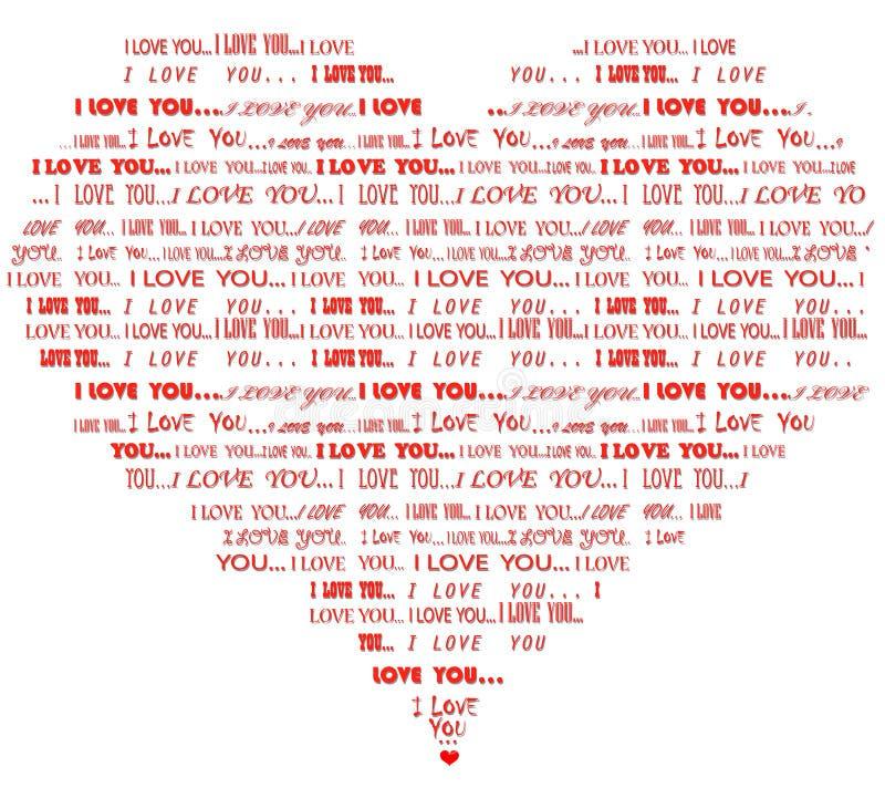 Je t'aime nuage rouge en forme de coeur de mot illustration libre de droits