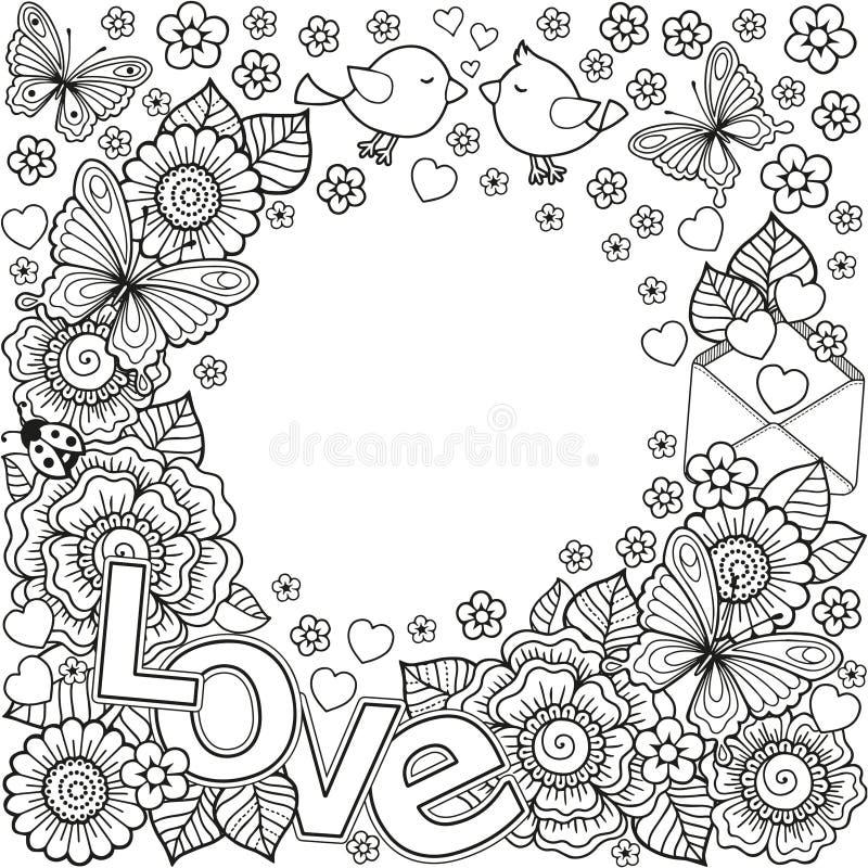 Je t'aime Un cadre plus rond fait des fleurs, des papillons, des baisers d'oiseaux et de l'amour de mot illustration de vecteur