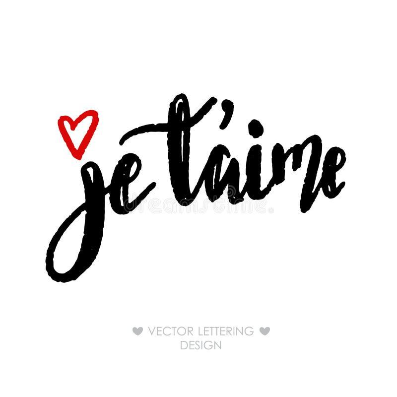 Je taime kocham ciebie w francuskim ilustracja wektor