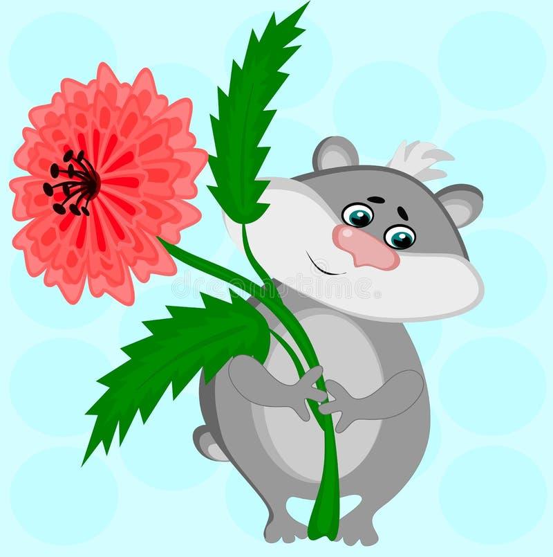 Je te donne une fleur L'image montre un hamster gris avec une fleur rouge luxuriante dans des ses pattes, un cadeau, un cadeau, a illustration stock