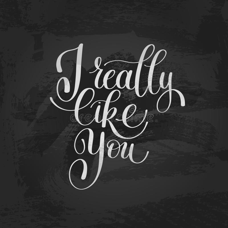 Je vous aime vraiment Lettre d'amour, écriture de l'anglais de texte du message illustration stock