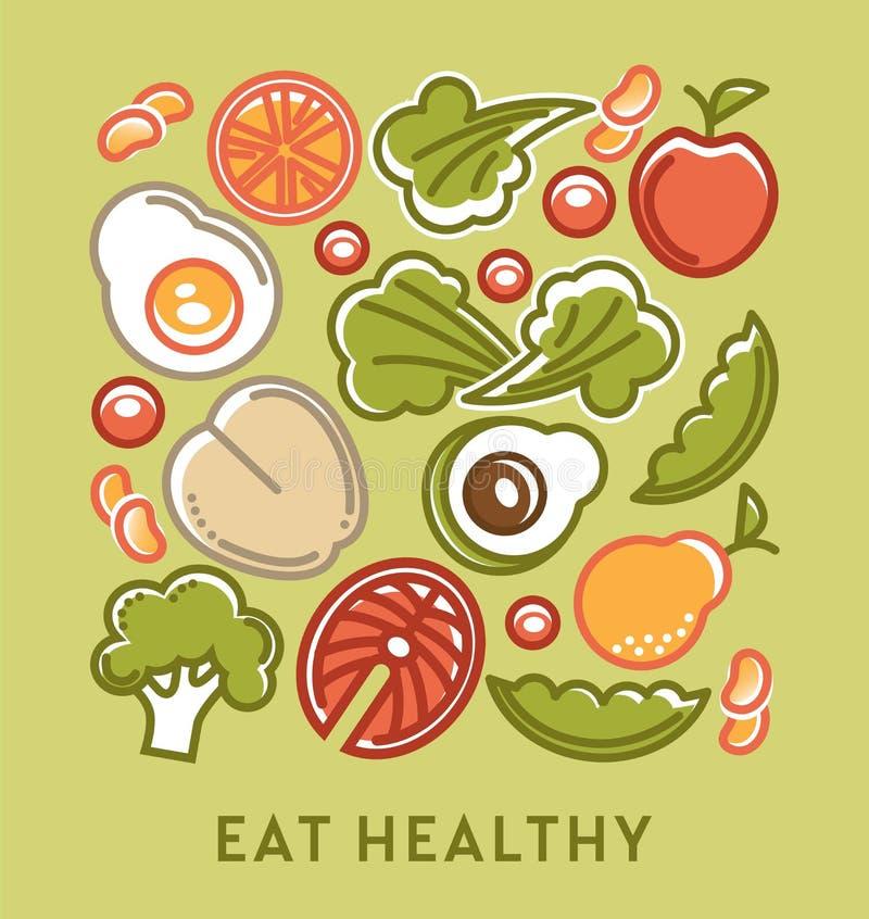 Je zdrową dietę i żywienioniowego odżywiania karmowego jarskiego menu ilustracji