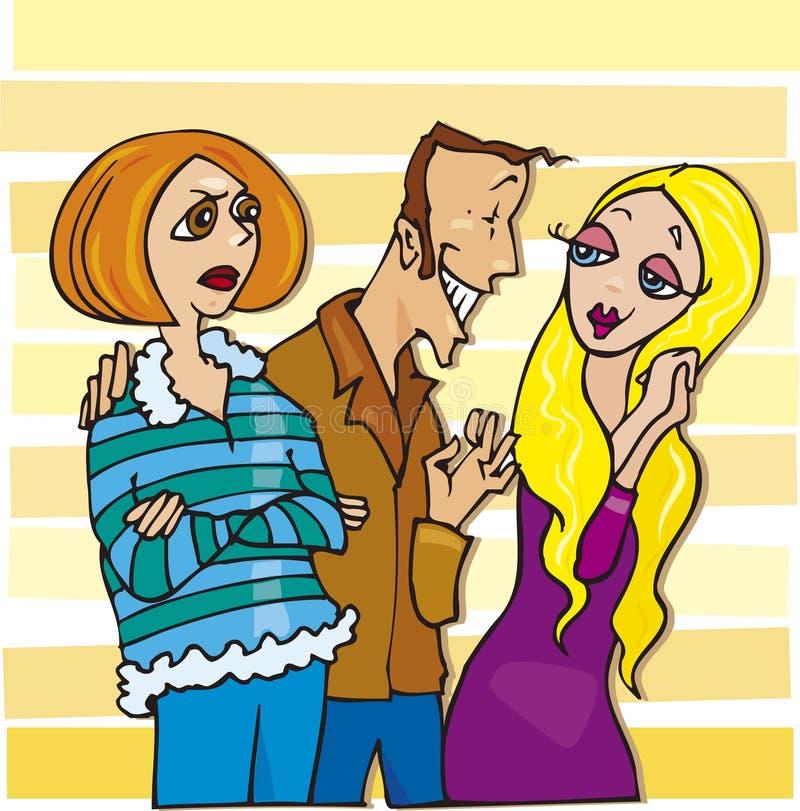 Jealous woman stock illustration