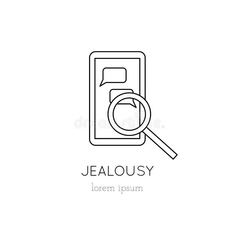 Jealousy line icon royalty free illustration