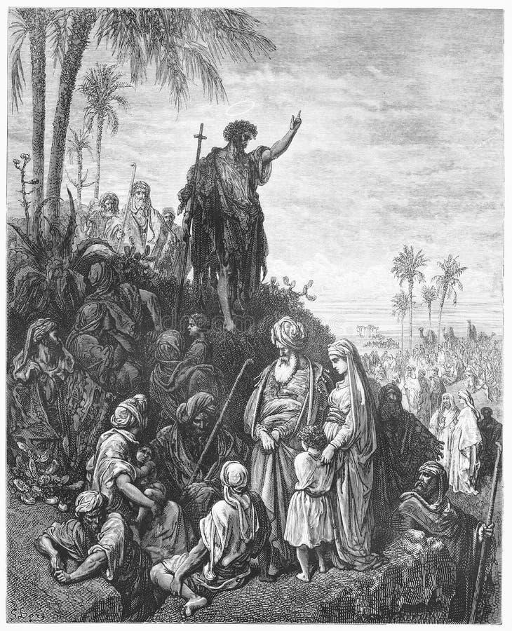 Jean-Baptist prêche dans la région sauvage illustration libre de droits