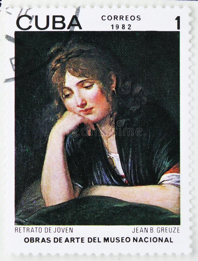 Jean-Baptiste Greuze, `Portrait of Young Woman`, Paintings from the National Museum serie, circa 1982. MOSCOW, RUSSIA - JULY 25, 2019: Postage stamp printed in royalty free stock photo