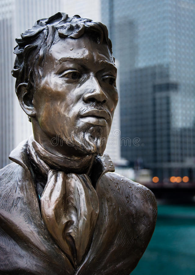 Jean Baptiste Pointe DuSable - Skulptur stockbilder