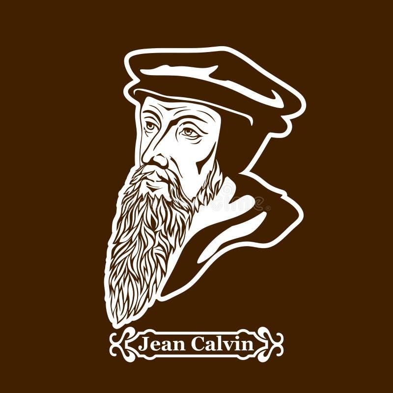 Jean Calvin protestantism Ledare av den europeiska Reformationen stock illustrationer