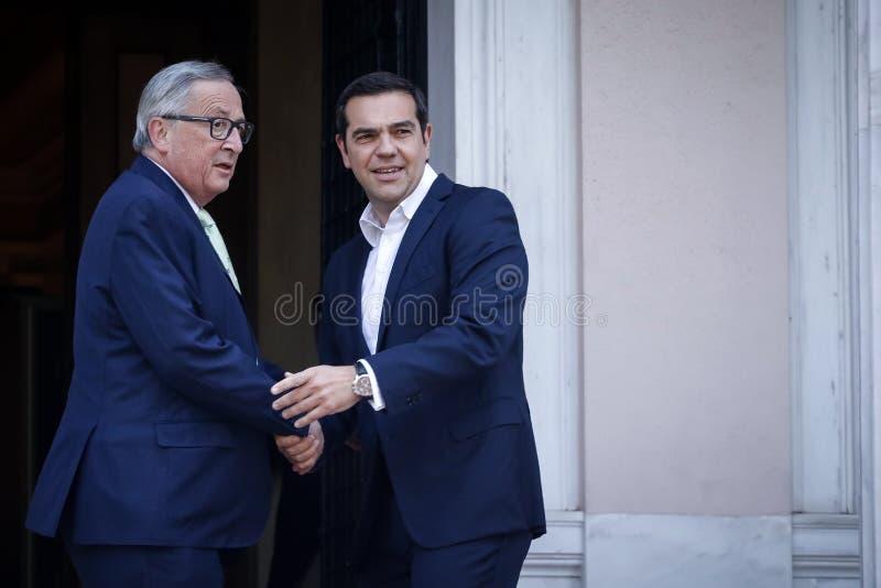 Jean-Claude Juncker visit Greece stock images
