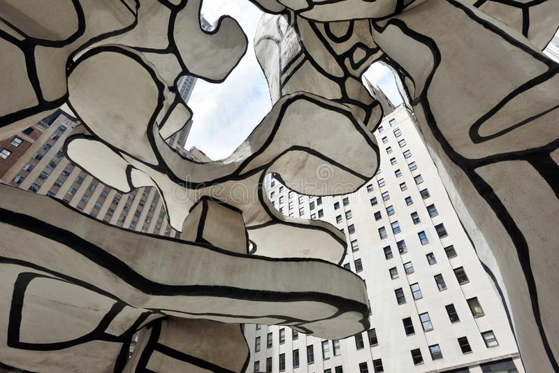 Jean Dubuffet - Group of Four Trees sculpture in lower Manhattan. Jean Dubuffet - Group of Four Trees sculpture detail in lower Manhattan on August 23, 2017 in royalty free stock photos