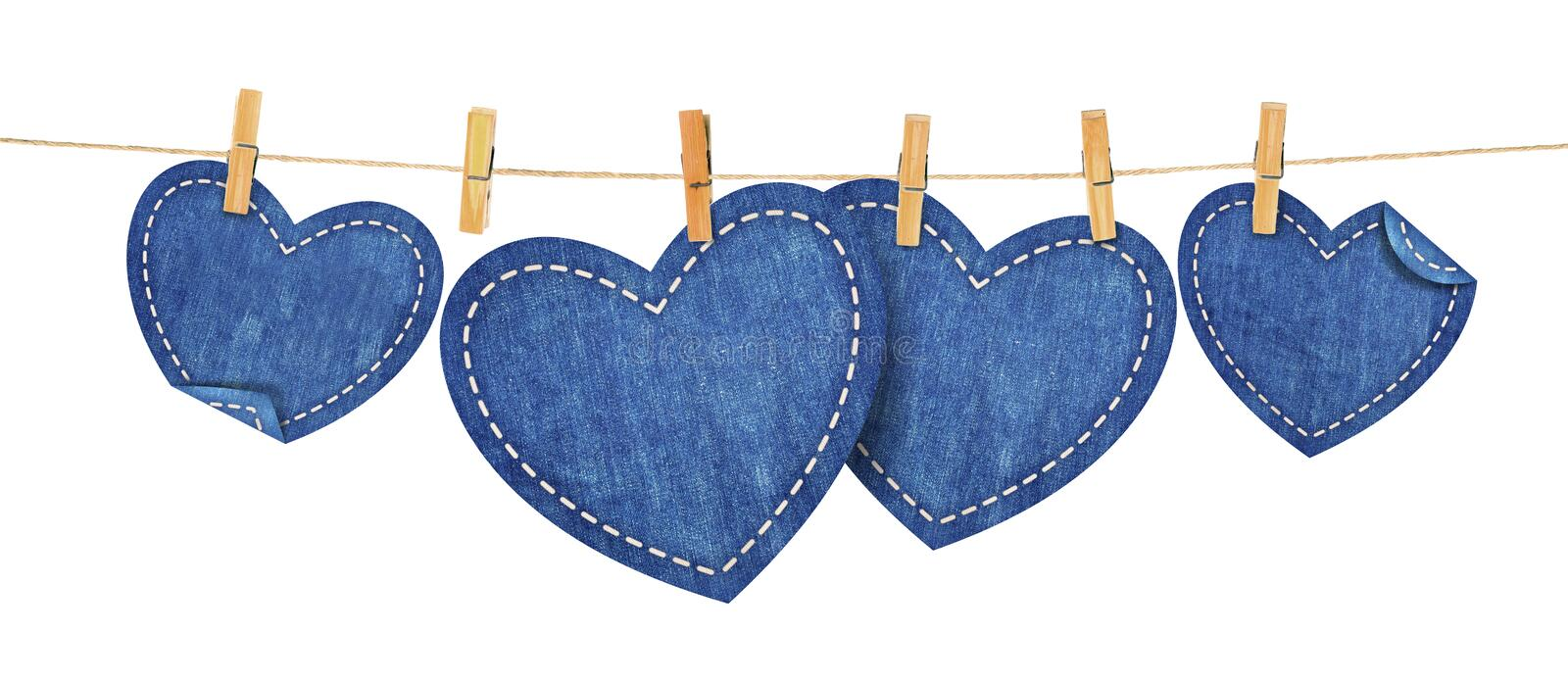 Jean hearts on rope royalty free illustration