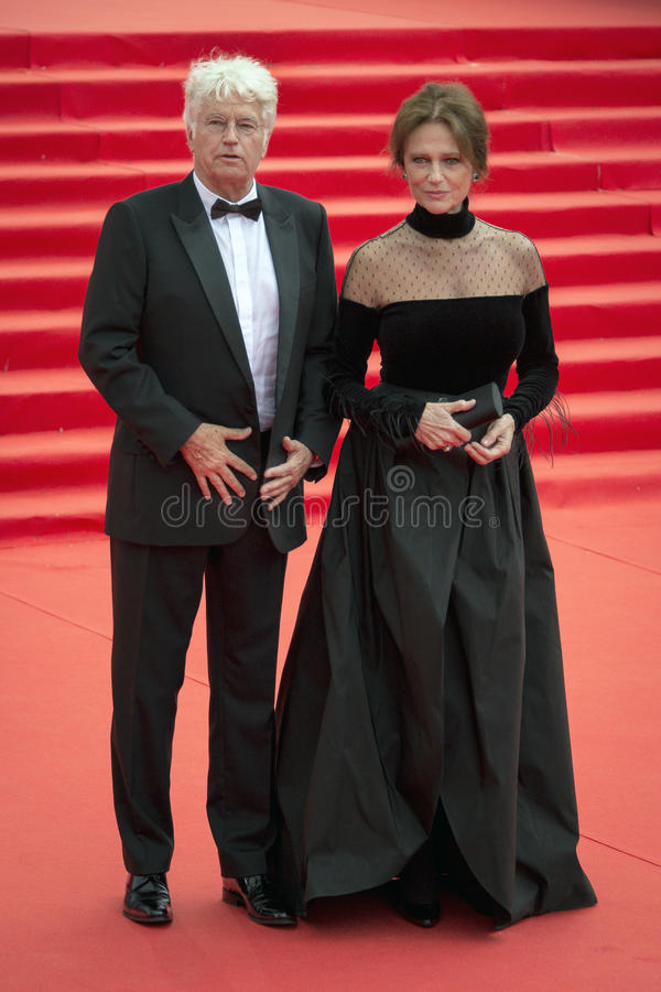 Jean Jacques Annaud and Jacqueline Bisset on the red carpet before the opening 37 of the Moscow International film Festival royalty free stock images