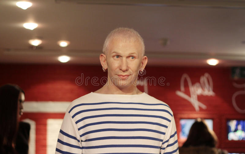 Jean Paul Gaultier. Wax statue at Madame Tussauds in London stock image