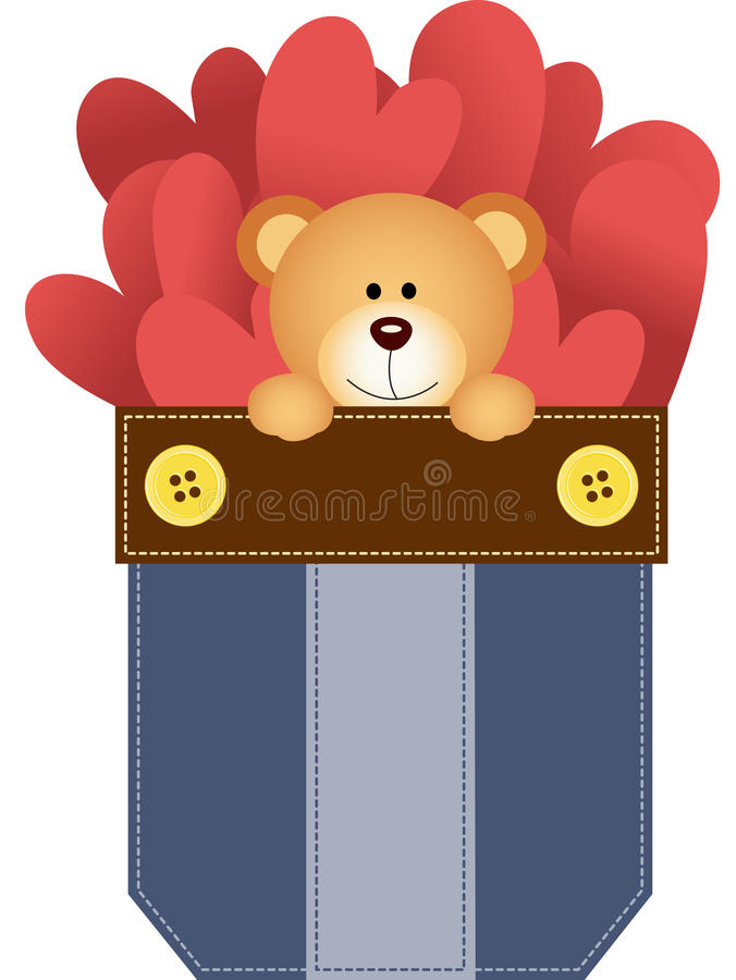 Jean pocket teddy bear and hearts stock illustration
