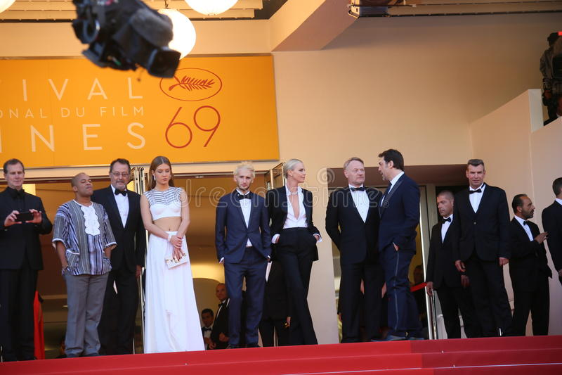 Jean Reno, Charlize Theron, Javier Bardem, funil Jack Penn, Adele Exarchopoulos, Sean Penn, Zubin Cooper fotografia de stock
