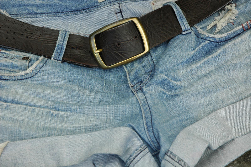 Download Jean Shorts With Belt Buckle Stock Images - Image: 17860634