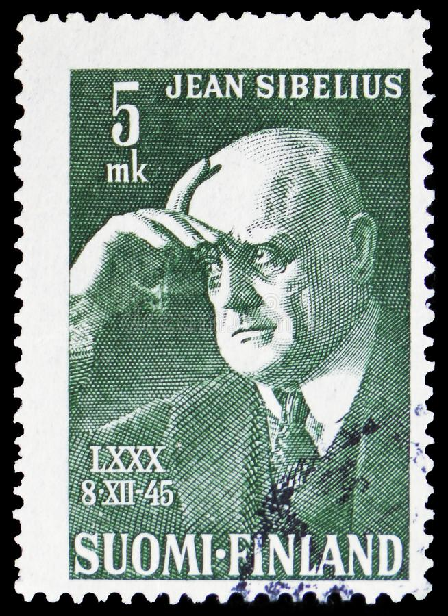 Jean Sibelius, composer, 80th Birth Day of Jean Sibelius serie, circa 1945. MOSCOW, RUSSIA - FEBRUARY 20, 2019: A stamp printed in Finland shows Jean Sibelius royalty free stock photos