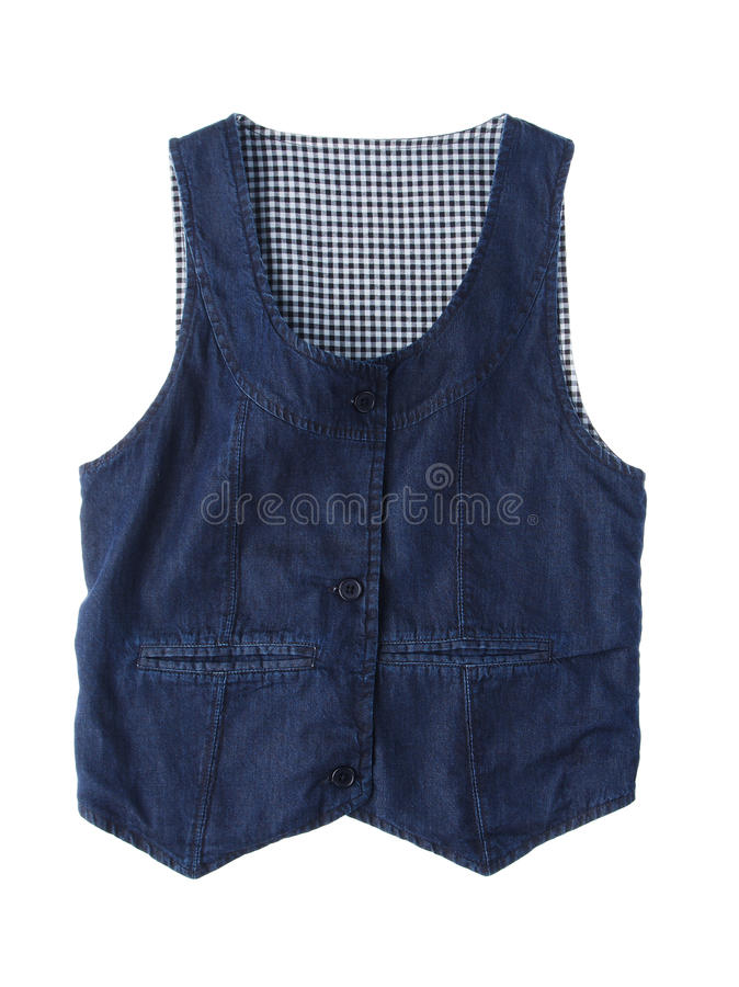 Free Jean Vest Isolated On White Stock Images - 19653804