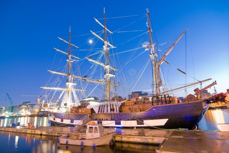 Jeanie Johnston Famine Ship. The Jeanie Johnston Famine Ship docked at the IFSC in Dublin royalty free stock photography