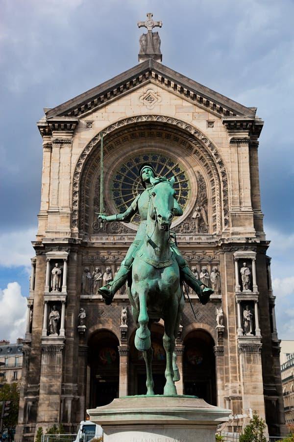 Jeanne D'Arc雕象,巴黎法国 库存图片