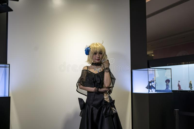 Jeanne d'Arc cosplayer in Sony Expo 2019 stock foto
