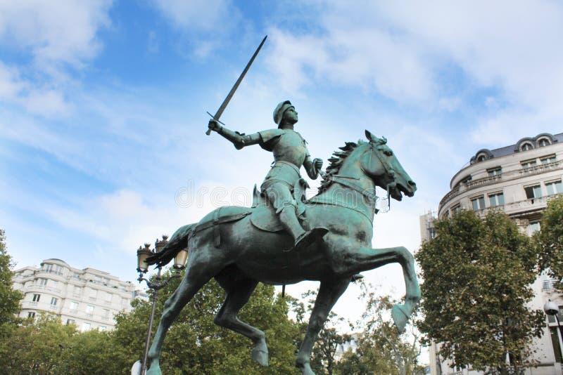 Jeanne D`arc. Joan of Arc monument. Paris France. stock image