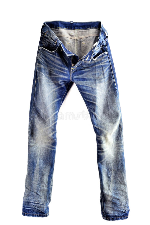 Jeans. Blue jeans isolated on white royalty free stock photos