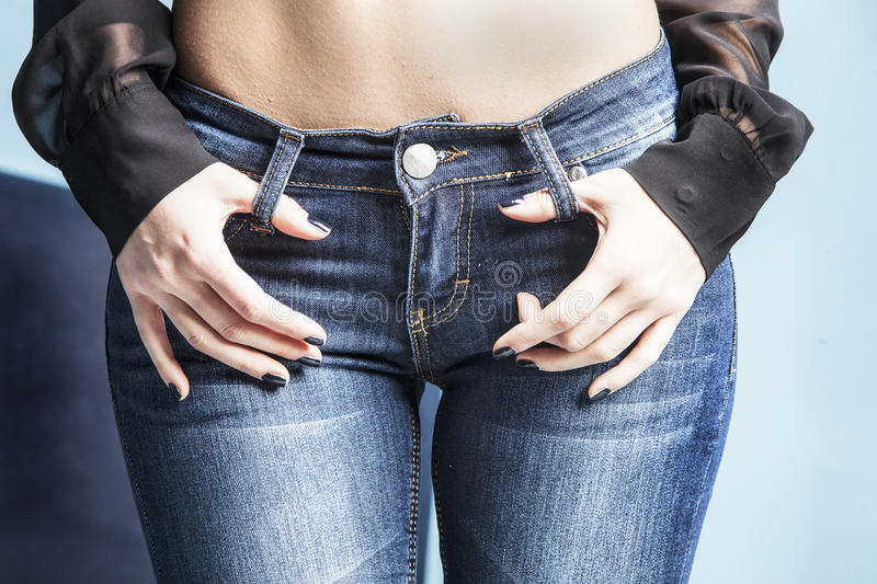 Download In jeans stock image. Image of weight, torso, woman, caucasian - 37873125