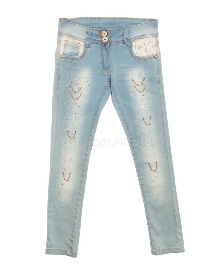 Jeans blu-chiaro isolati su fondo bianco fotografia stock