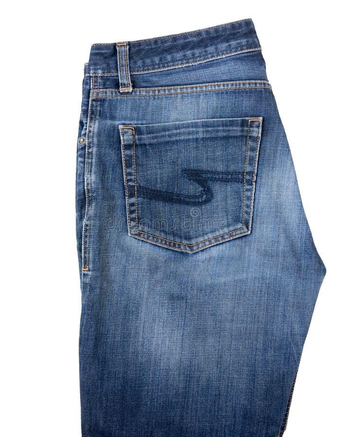 Jeans blu del ` s degli uomini isolati su un fondo bianco immagini stock libere da diritti