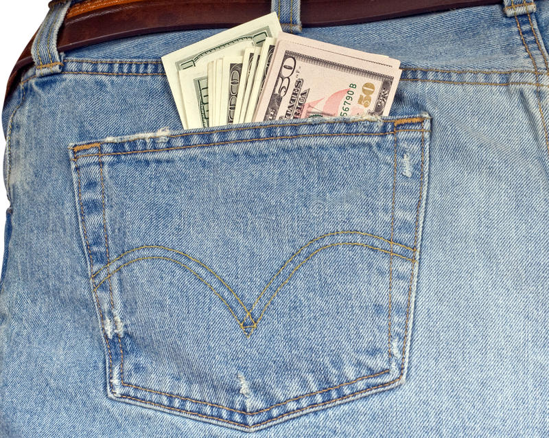 Jeans With Cash Royalty Free Stock Photos
