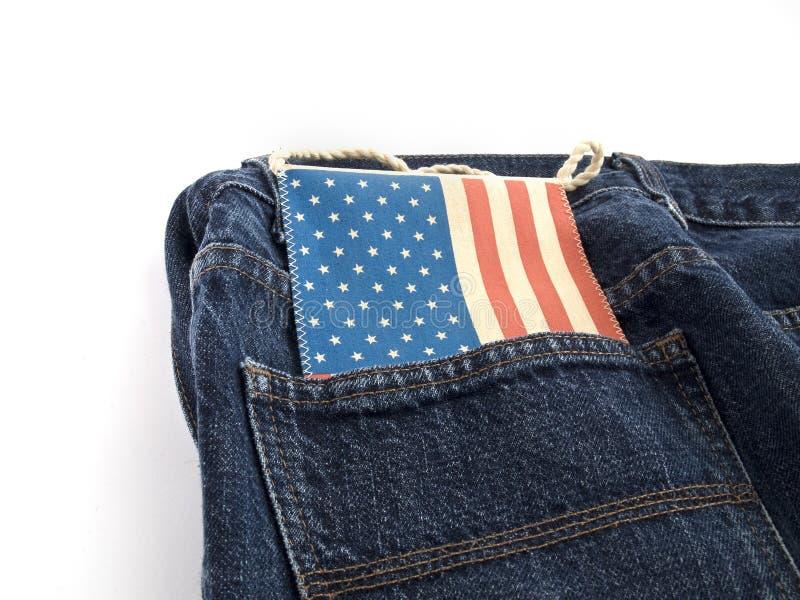Jeans con la bandierina degli S.U.A. immagine stock