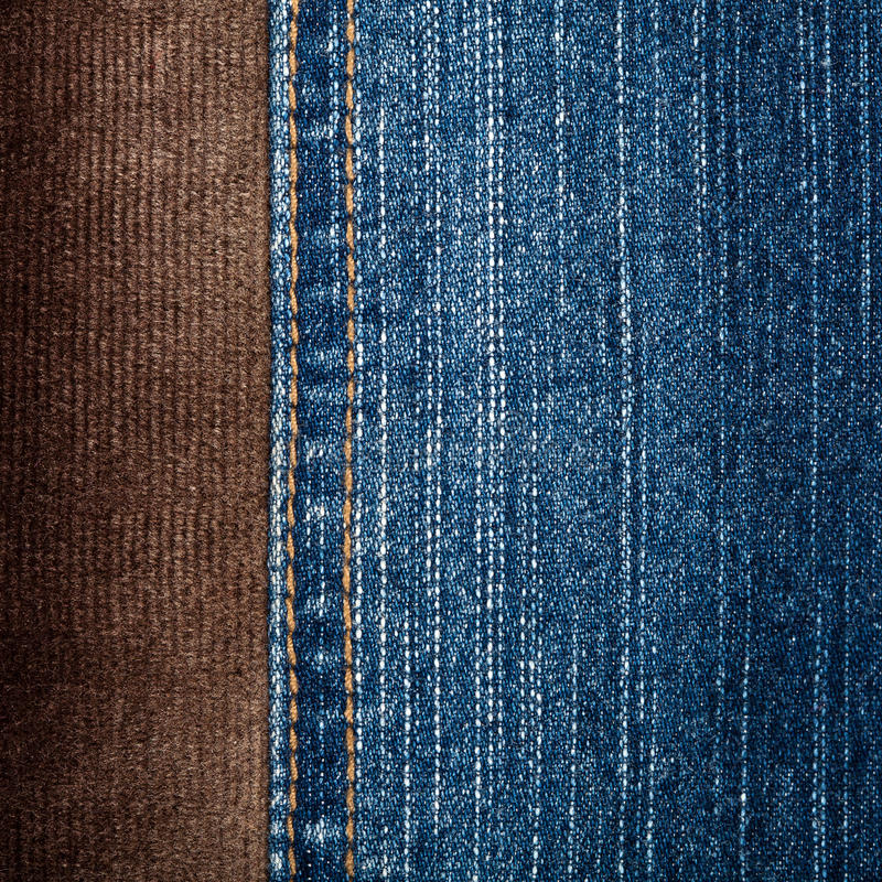 Jeans and corduroy textures. With a stitch royalty free stock photography