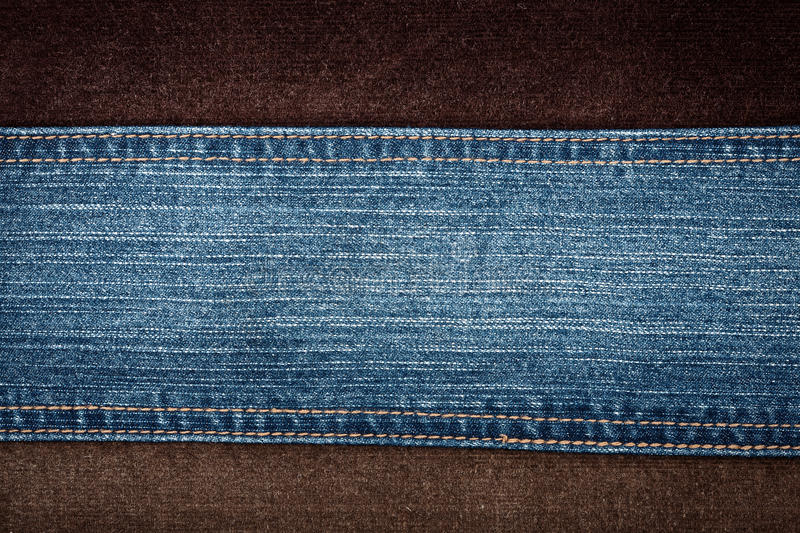 Jeans and corduroy textures. With a stitch royalty free stock image