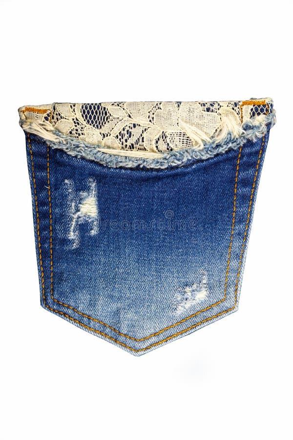 Jeans della tasca su un fondo bianco fotografia stock libera da diritti