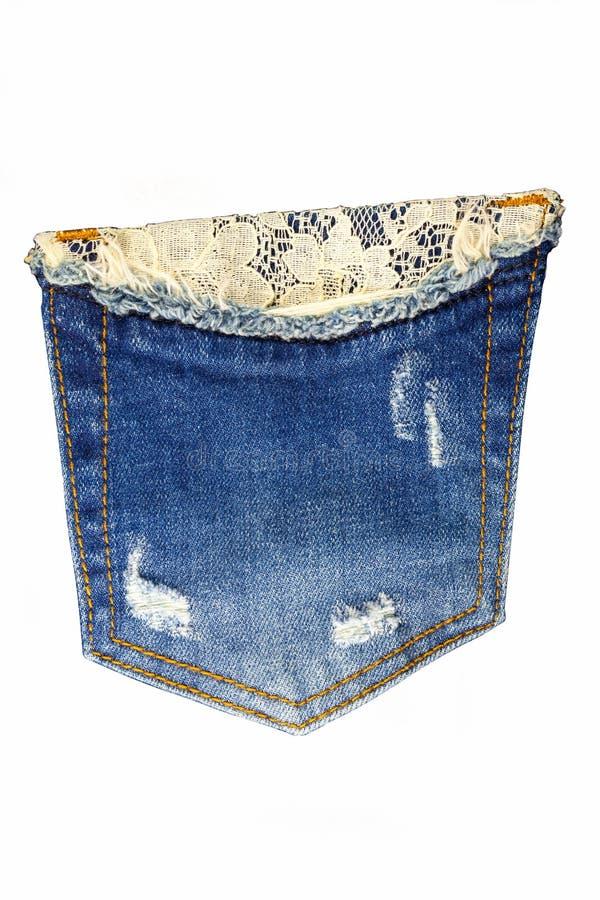 Jeans della tasca su un fondo bianco fotografie stock libere da diritti