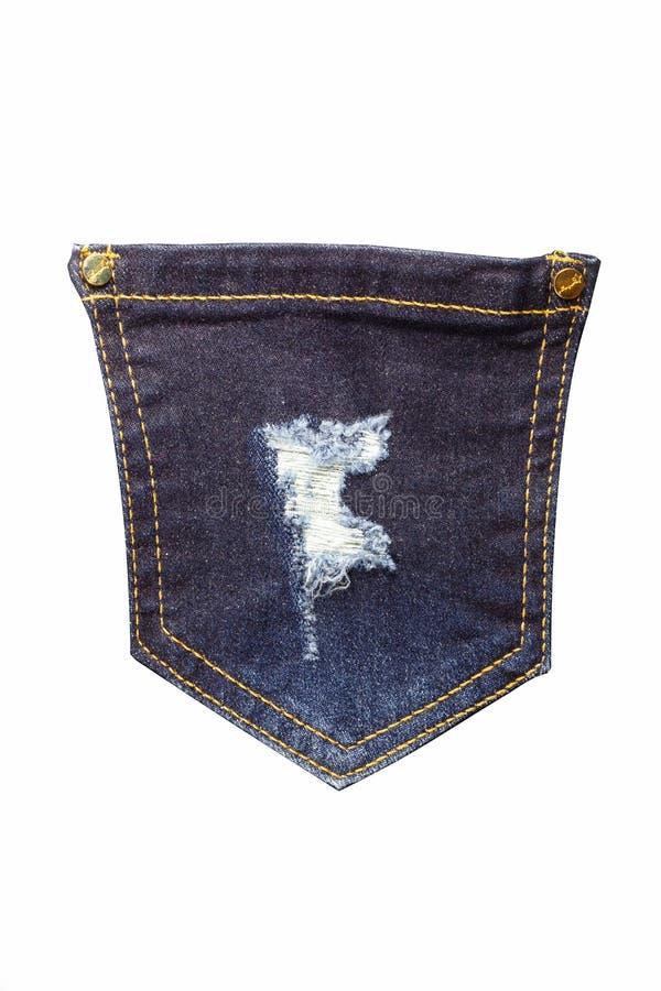 Jeans della tasca su un fondo bianco immagini stock libere da diritti