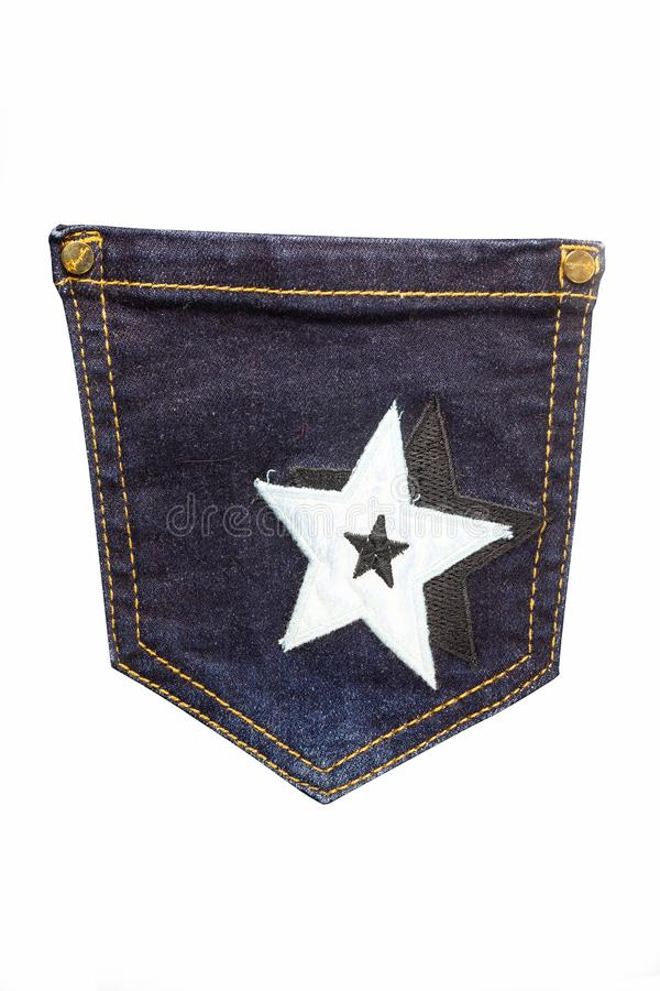 Jeans della tasca su un fondo bianco fotografia stock